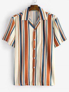 Stripes Pattern Button Down Shirt - Coffee 2xl