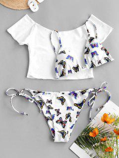 ZAFUL Maillot De Bain Bikini Papillon à Epaule Dénudée Trois Pièces - Bleu M