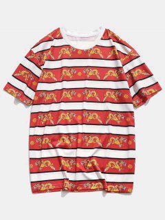 T-Shirt Casuale Stampata A Drago Con Maniche Corte - Rosso Xl