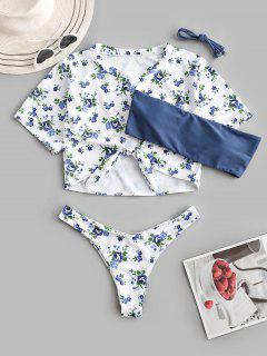ZAFUL Bañador De Tres Piezas Con Nudo Y Estampado De Flor - Azul Profundo M
