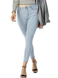 Plain Mid Rise Skinny Jeans - Light Blue S