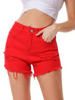 Distressed High Waist Raw Hem Denim Shorts - Red L