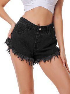 High Waist Frayed Hem Denim Shorts - Black L
