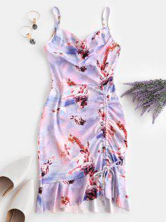 Cinched Ruffle Hem Open Back Angel Print Dress - Light Purple M