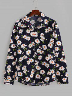 ZAFUL Daisy Print Button Up Long Sleeve Shirt - Deep Blue 2xl