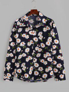 ZAFUL Daisy Print Button Up Long Sleeve Shirt - Deep Blue 2xl