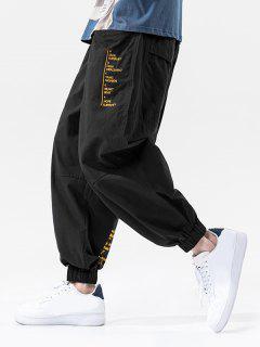 Pantalones Jogger Casual Con Estampado De Letras Y Bolsillos - Negro Xl