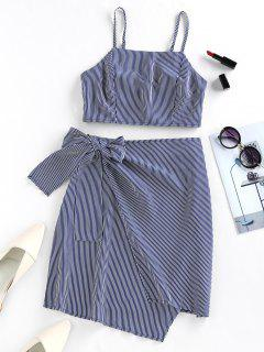 ZAFUL Asymmetric Stripe Tie Front Two Piece Dress - Deep Blue M