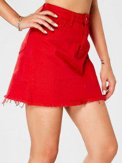 Frayed Hem Solid Denim Mini Skirt - Red Xl