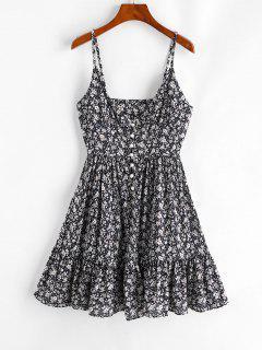ZAFUL Ruffles Half Buttoned Floral Dress - Deep Blue Xl