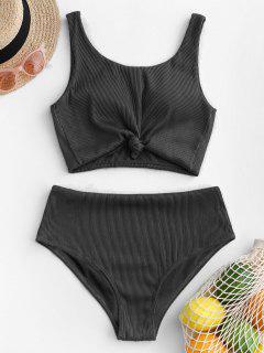 ZAFUL Knot Textured Ribbed Tankini Swimsuit - Black L