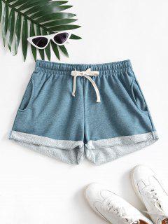 Shorts Com Bolsos E Cordão Algemado - Azul L