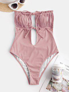 ZAFUL Ribbed Tie Ruched Bandeau One-piece Swimsuit - Light Pink M