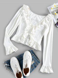 ZAFUL Ruffle Ribbed Crop T Shirt - White M