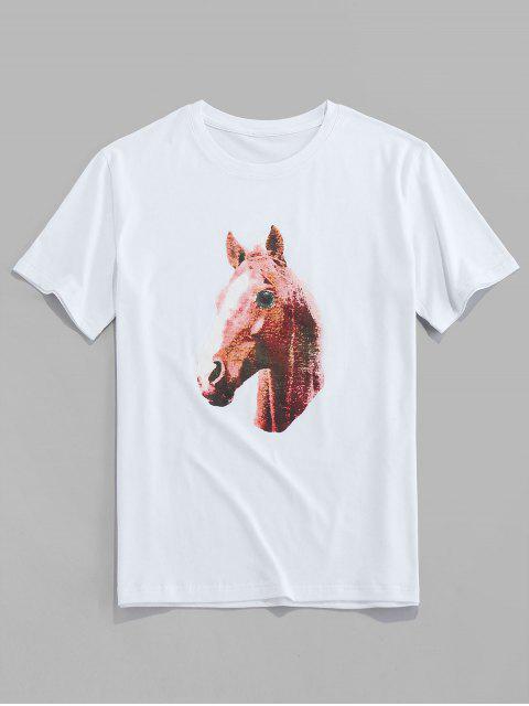 T-Shirt Stampata a Cavallo con Maniche Corte di ZAFUL - Bianca S Mobile