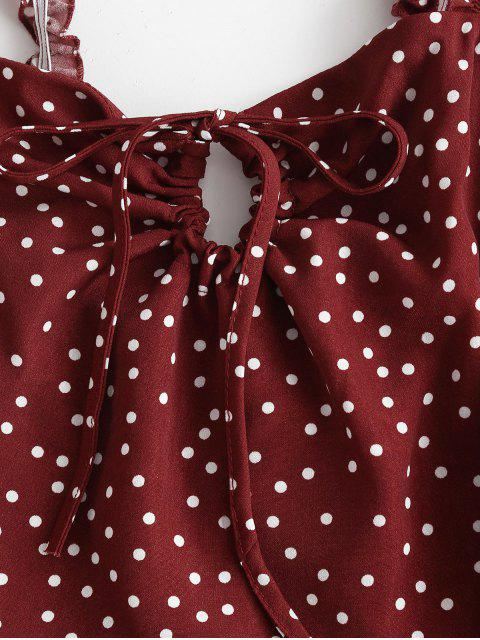 shops Ruffled Straps Dotted Tie Collar Mini Dress - RED S Mobile