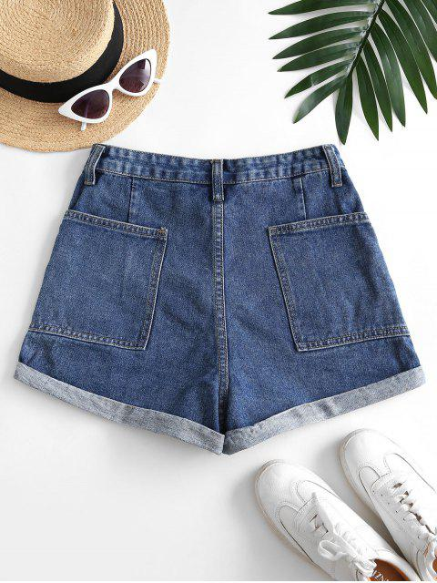 Shorts de Denim con Cuatro Bolsillos con Pecho - Azul Profundo M Mobile