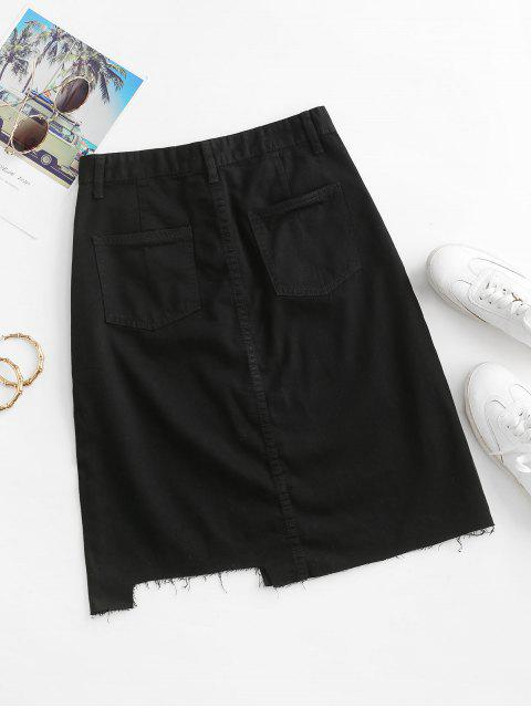 buy Frayed Hem A Line Denim Skirt - BLACK S Mobile