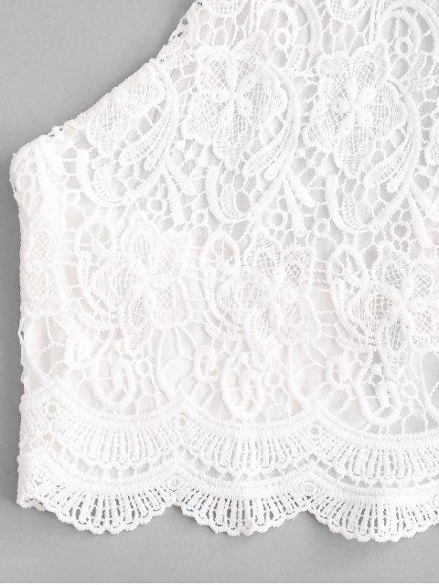 Crochet Spitze Ditsydruck Halter Zweiteiler Set - Gelb M Mobile