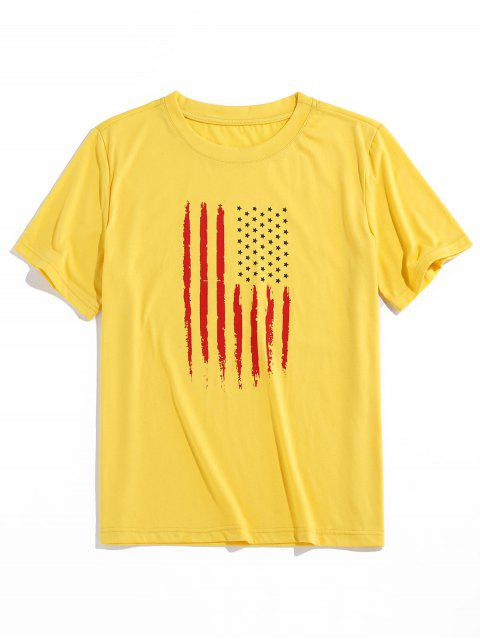 ZAFUL T-shirt de Padrão da Bandeira Americana - Amarelo S Mobile