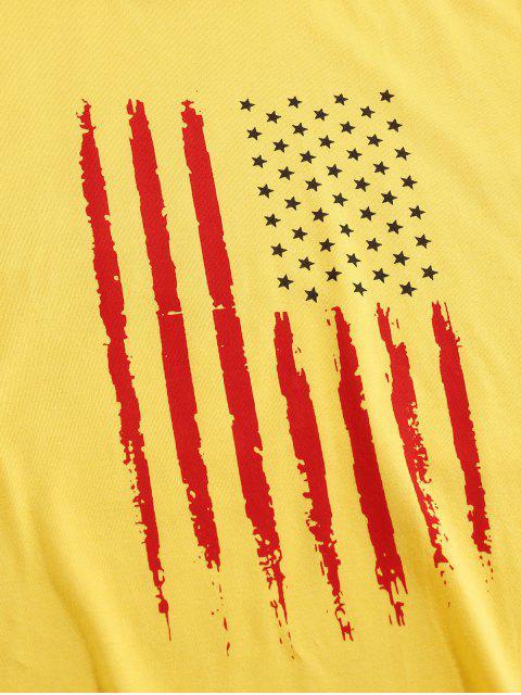 chic ZAFUL American Flag Pattern Basic T-shirt - YELLOW XL Mobile
