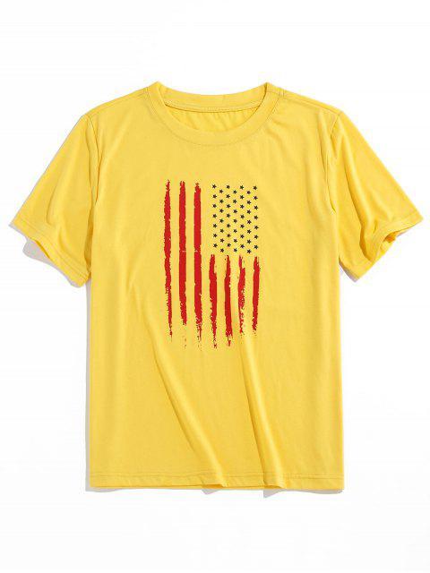 fancy ZAFUL American Flag Pattern Basic T-shirt - YELLOW 2XL Mobile