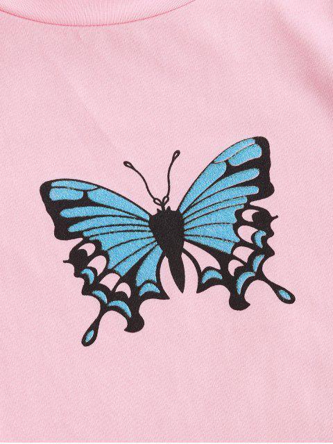 Alface Guarnição da Borboleta Tee Cortado - Luz rosa M Mobile