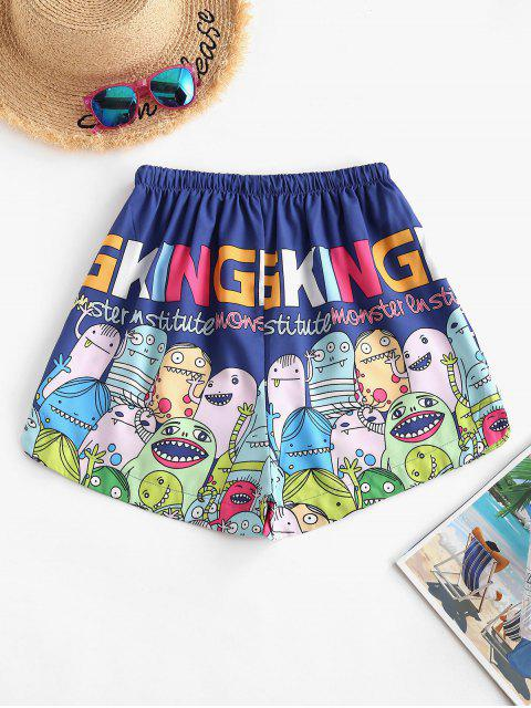 chic Drawstring Funny Cartoon Print Lounge Shorts - BLUE XL Mobile