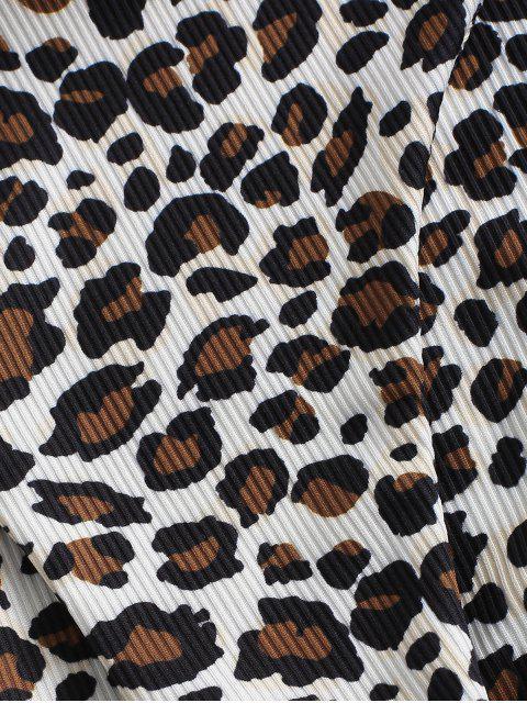 fashion ZAFUL Tie Ribbed Leopard Bikini Swimwear - DEEP COFFEE S Mobile