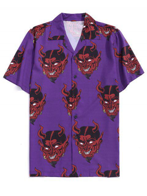 fashion Demon Pattern Short Sleeve Shirt - PURPLE IRIS M Mobile