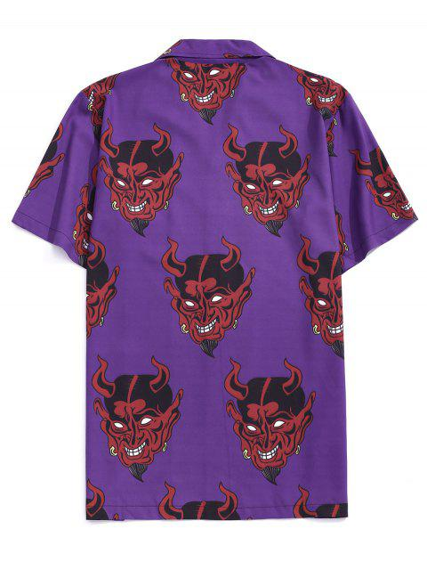 fancy Demon Pattern Short Sleeve Shirt - PURPLE IRIS XL Mobile