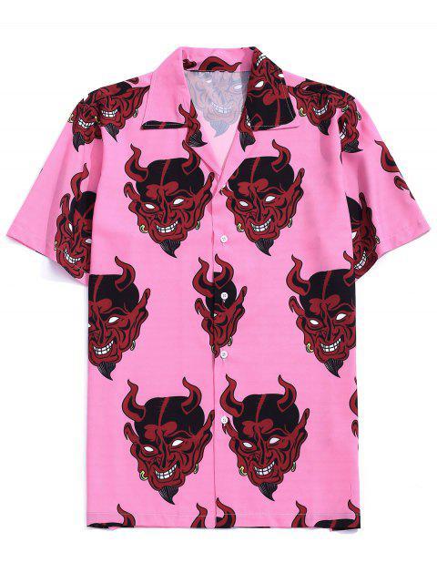 sale Demon Pattern Short Sleeve Shirt - PINK ROSE S Mobile