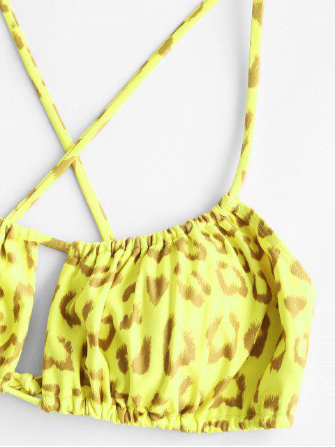 lady ZAFUL Leopard Crisscross Tie Side Tanga Bikini Swimwear - YELLOW S Mobile