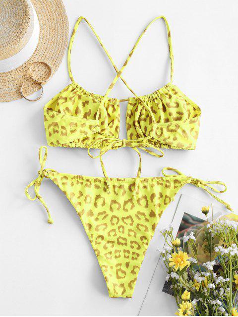 online ZAFUL Leopard Crisscross Tie Side Tanga Bikini Swimwear - YELLOW L Mobile