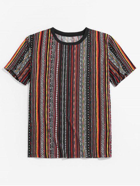 Tribal Stripe Print Short Sleeve T-shirt - برتقالي قاتم 2XL Mobile