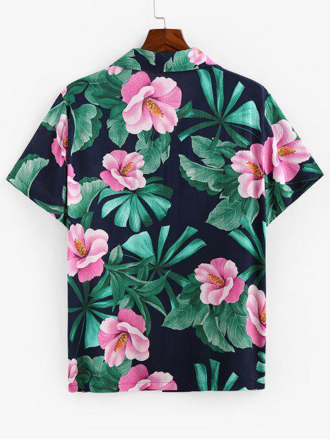 shops ZAFUL Tropical Flower Print Button Up Shirt - CADETBLUE 2XL Mobile
