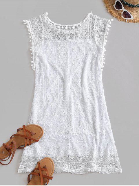 best Lace Pompoms Trim Mini Dress - WHITE 2XL Mobile