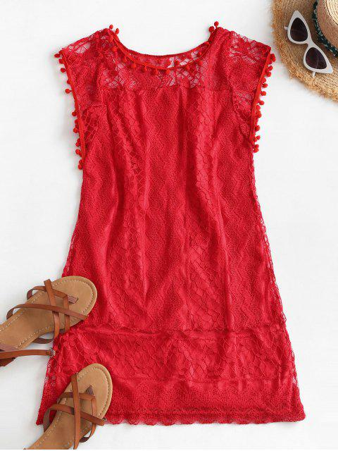 outfit Lace Pompoms Trim Mini Dress - RED S Mobile