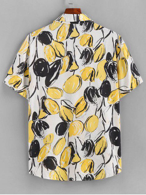 buy ZAFUL Mango Print Button Up Shirt - YELLOW M Mobile