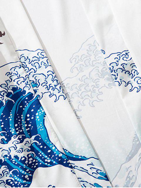 affordable Dragon Koi Ocean Waves Oriental Kimono Cardigan - MILK WHITE M Mobile
