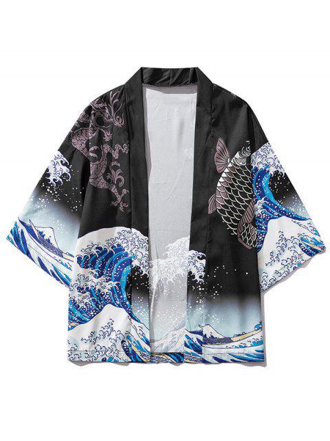 Cardigan KimonoOrientalDragon Koi Vague d'Océan - Noir XL Mobile