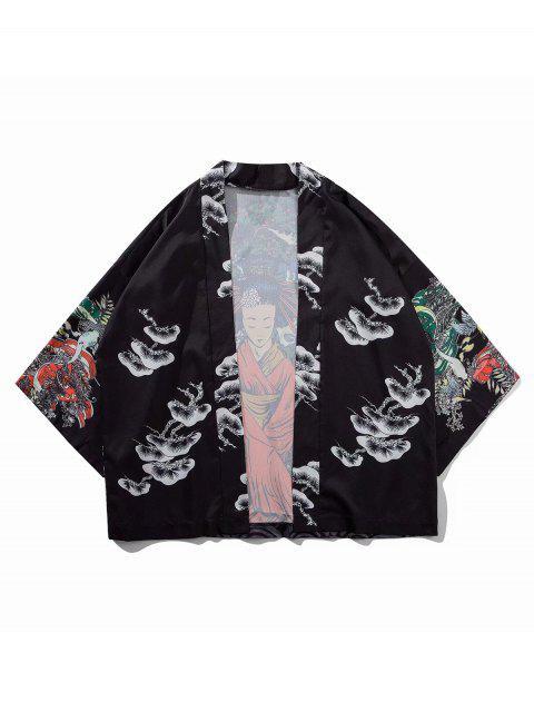unique Geisha Koi Scenery Print Oriental Kimono Cardigan - BLACK 2XL Mobile
