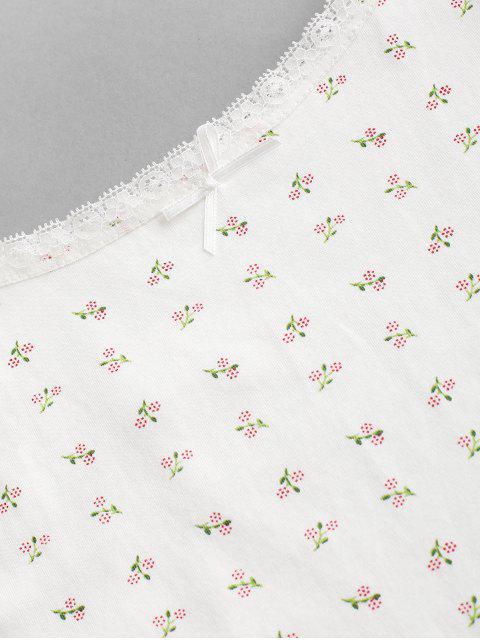 Laço Inserção Bowknot impressão Camisole - Branco S Mobile