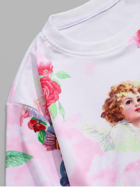 T-Shirt Floreale in Tinta Unita Unita con Maniche Lunghe - Rosa Suino S Mobile