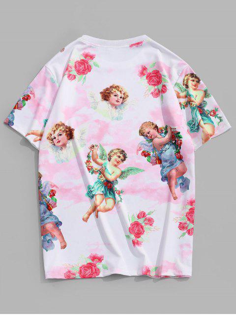Angel Floral Renaissance Print Vacation T Shirt - خنزير وردي 2XL Mobile