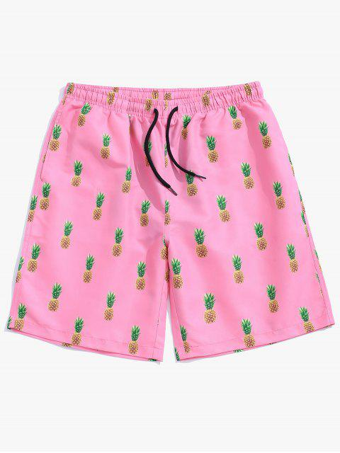 outfit Pineapple Printed Drawstring Casual Shorts - LIGHT PINK XL Mobile