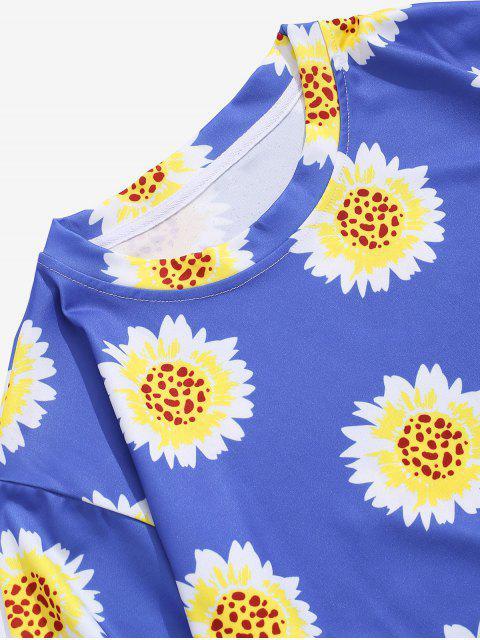 Camiseta de Férias com Padrão de Férias - Seda de Azul XL Mobile