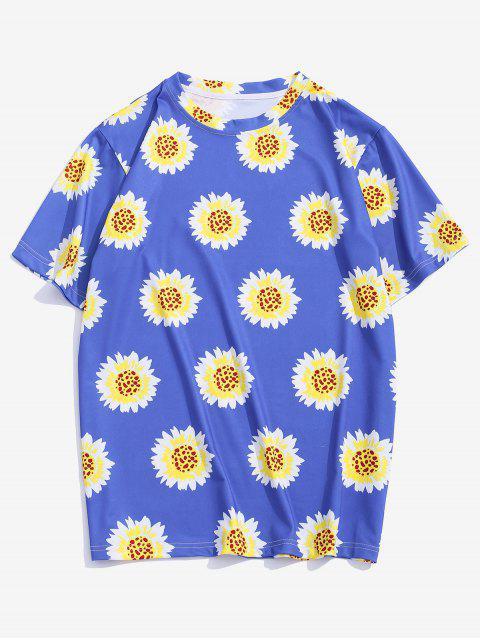 Flower Pattern Vacation T Shirt - الحرير الأزرق XL Mobile
