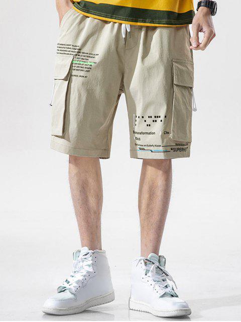 unique Letter Text Multi Pockets Lounge Shorts - BEIGE M Mobile