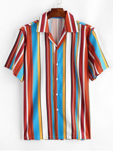 online Notched Collar Contrast Stripe Shirt - ROSSO RED S Mobile